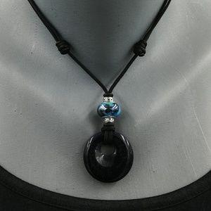 "Handmade, 16""-28"" Blue Sand Stone Necklace"